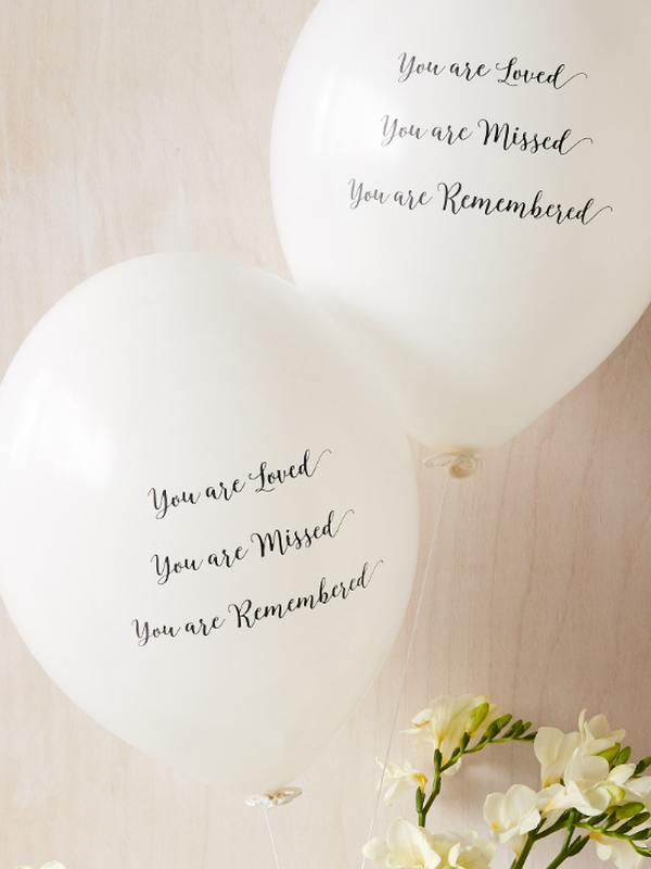 'You are Loved, Missed, Remembered' Funeral Remembrance Balloons